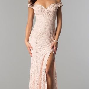 Long Off-the-Shoulder Sweetheart Lace Prom Dress